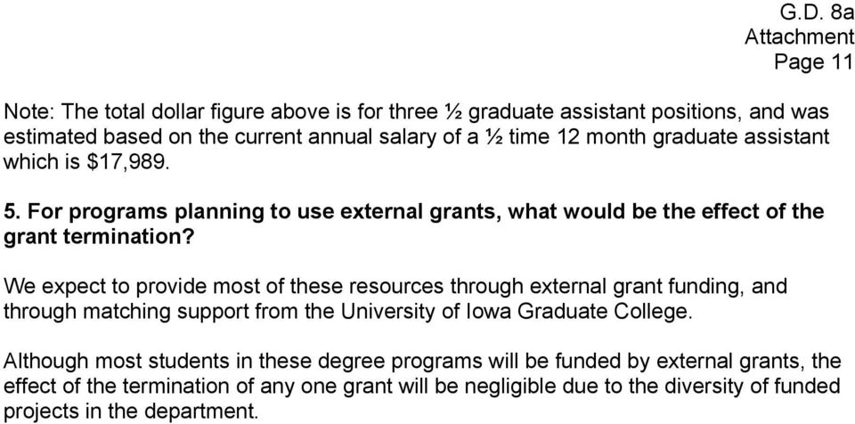 We expect to provide most of these resources through external grant funding, and through matching support from the University of Iowa Graduate College.