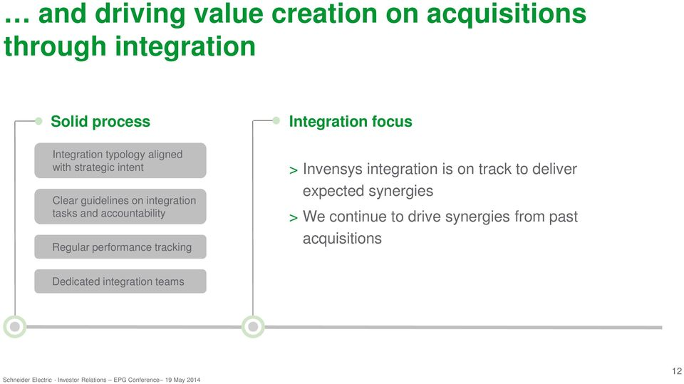 accountability Regular performance tracking > Invensys integration is on track to deliver