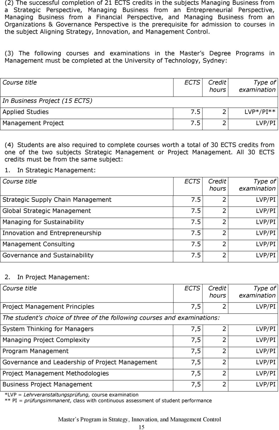 Control. (3) The following courses and s in the Master s Degree Programs in Management must be completed at the University of Technology, Sydney: In Business Project (15 ECTS) Applied Studies 7.