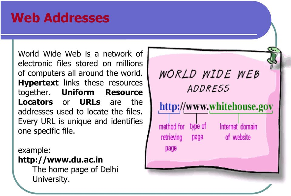Uniform Resource Locators or URLs are the addresses used to locate the files.