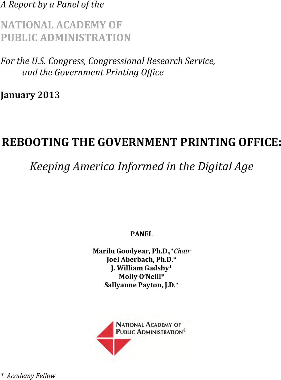 Congress, Congressional Research Service, and the Government Printing Office January 2013