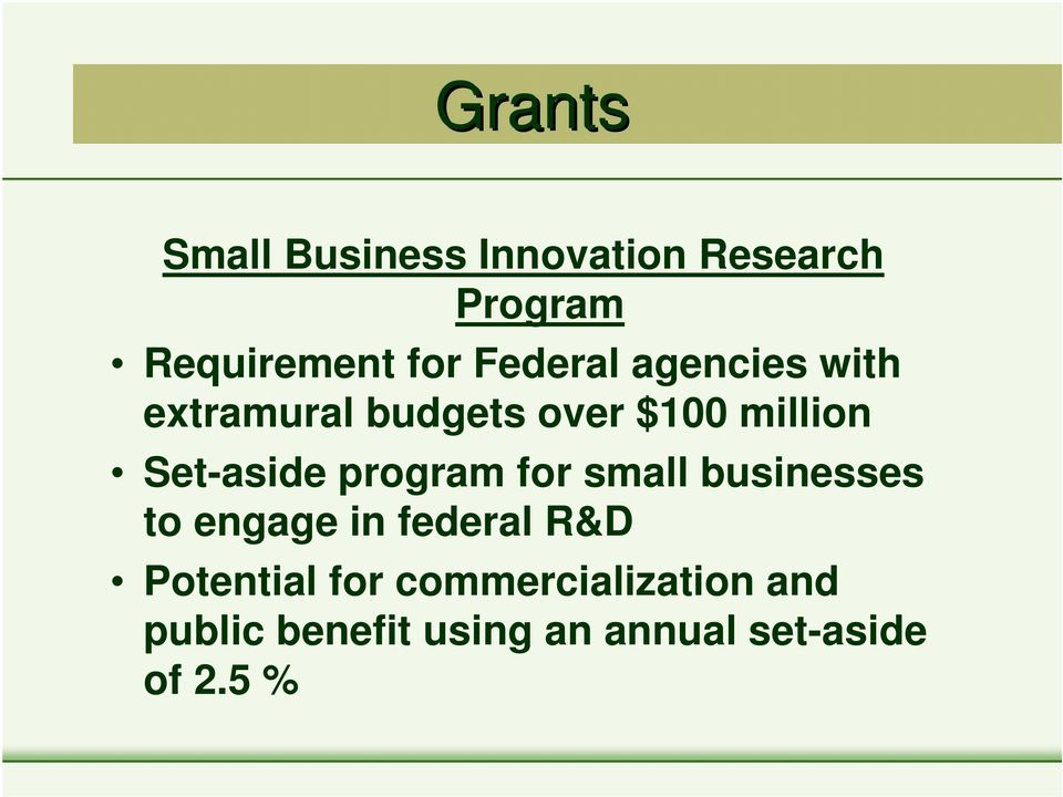 Set-aside program for small businesses to engage in federal R&D
