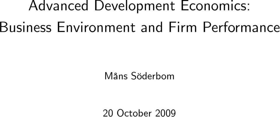 Environment and Firm