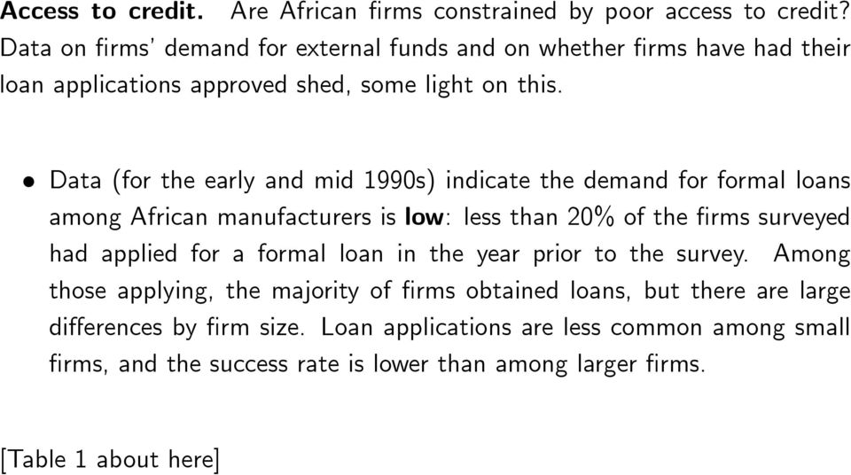 Data (for the early and mid 1990s) indicate the demand for formal loans among African manufacturers is low: less than 20% of the rms surveyed had applied