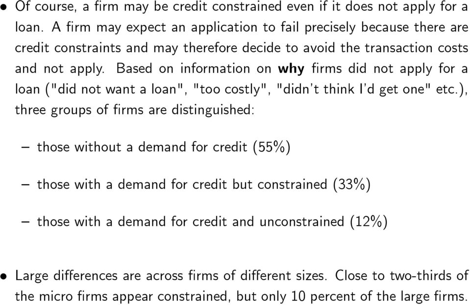 "Based on information on why rms did not apply for a loan (""did not want a loan"", ""too costly"", ""didn t think I d get one"" etc."