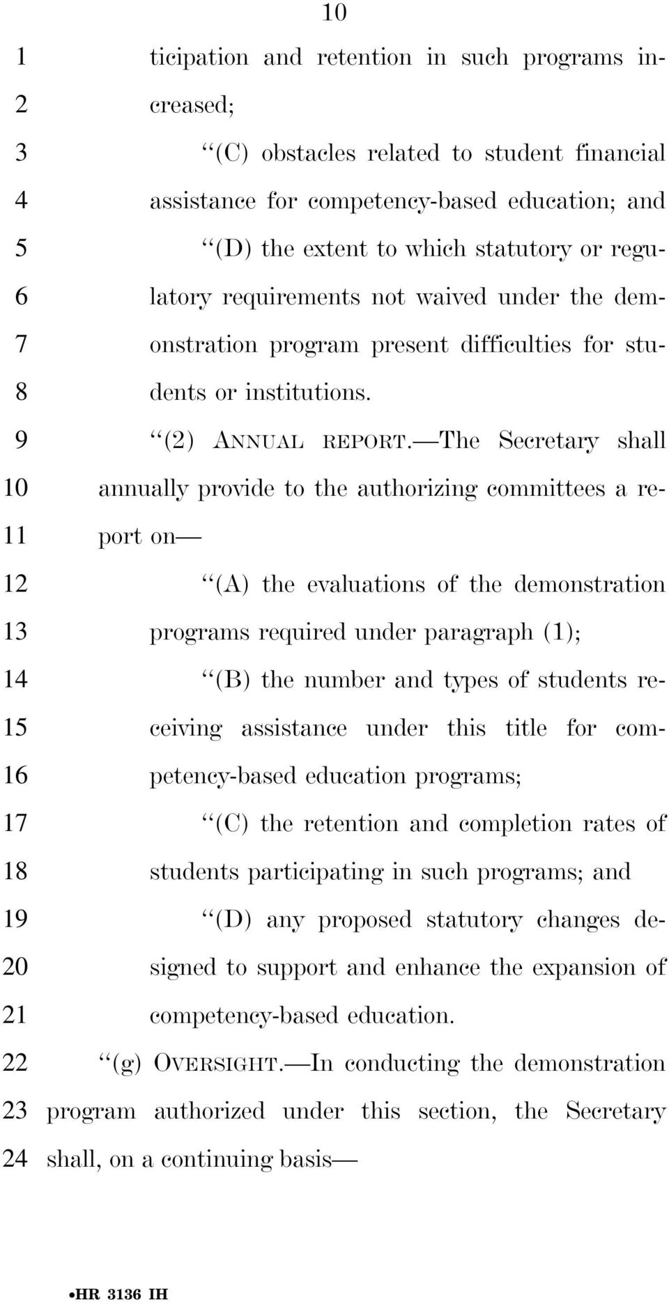 The Secretary shall annually provide to the authorizing committees a re- 11 port on (A) the evaluations of the demonstration programs required under paragraph (1); (B) the number and types of