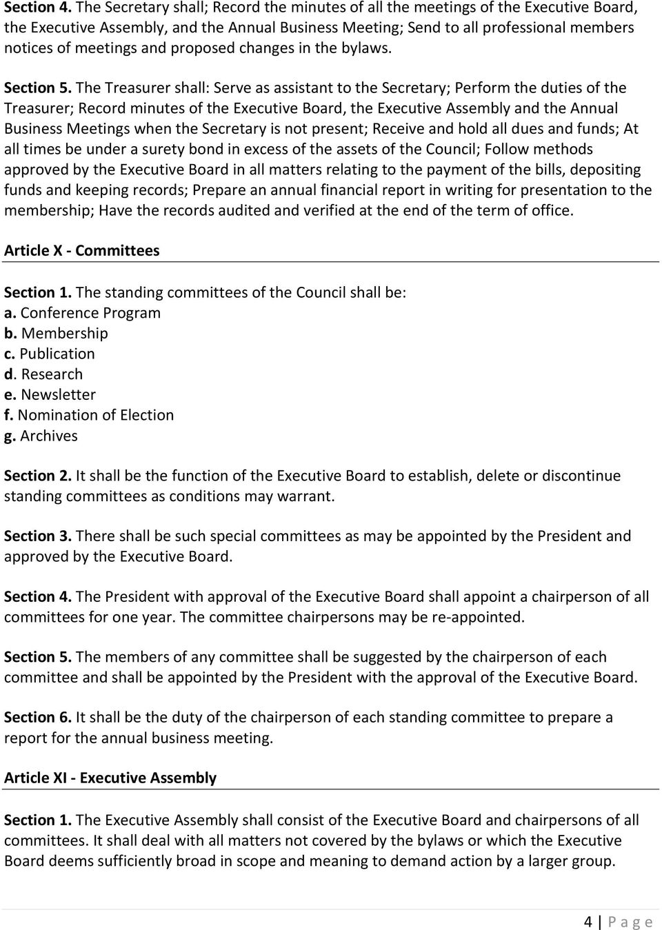 proposed changes in the bylaws. Section 5.