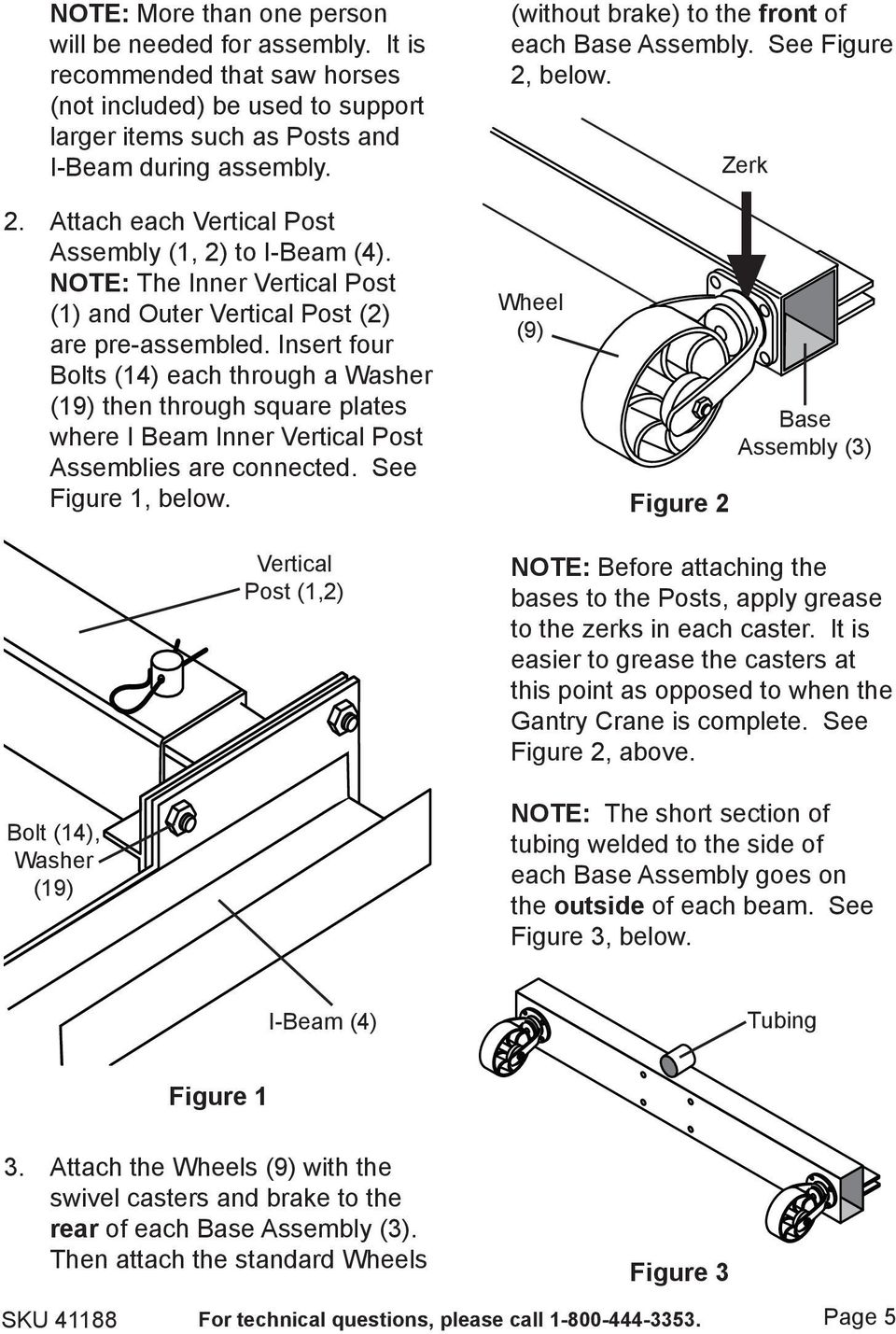NOTE: The Inner Vertical Post (1) and Outer Vertical Post (2) are pre-assembled.
