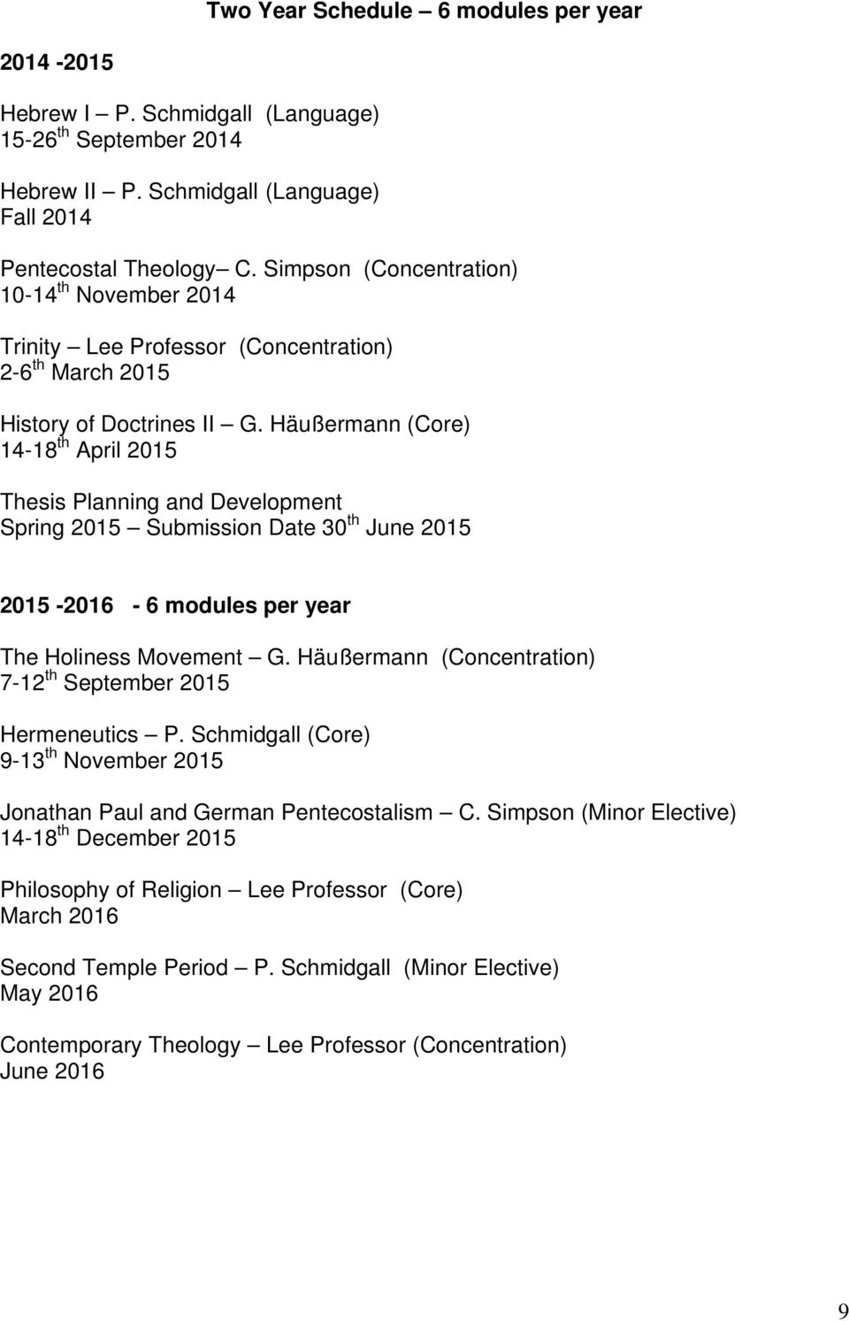 Häußermann (Core) 14-18 th April 2015 Thesis Planning and Development Spring 2015 Submission Date 30 th June 2015 2015-2016 - 6 modules per year The Holiness Movement G.