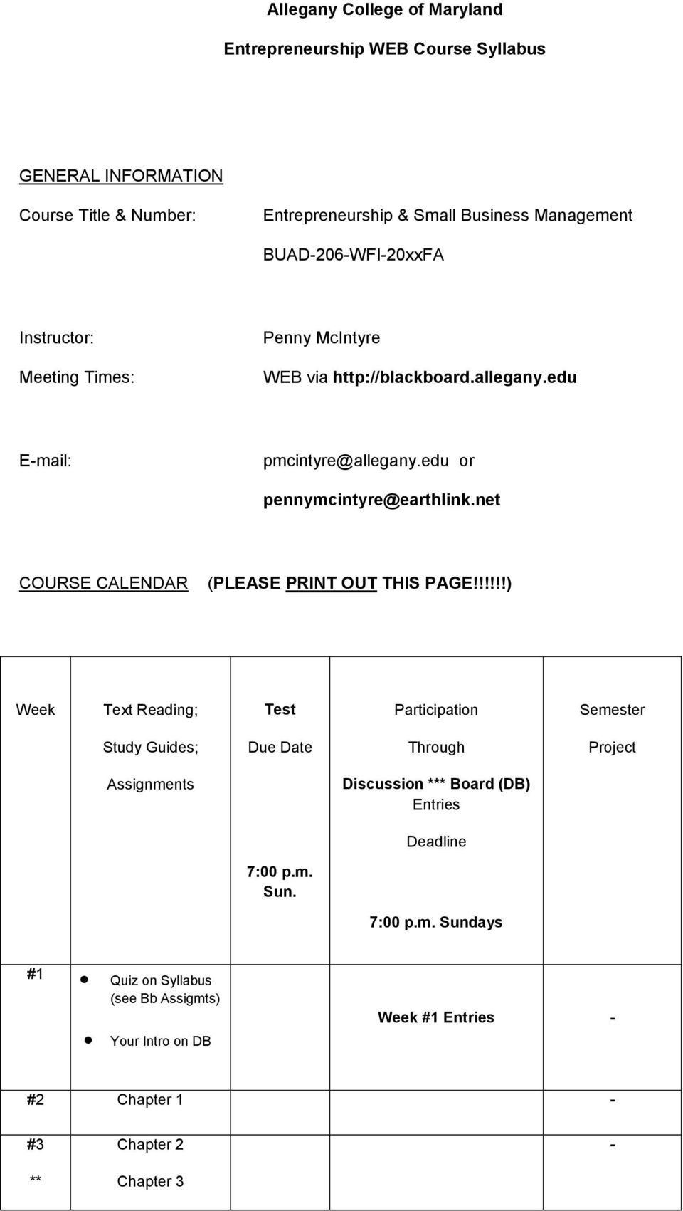 net COURSE CALENDAR (PLEASE PRINT OUT THIS PAGE!