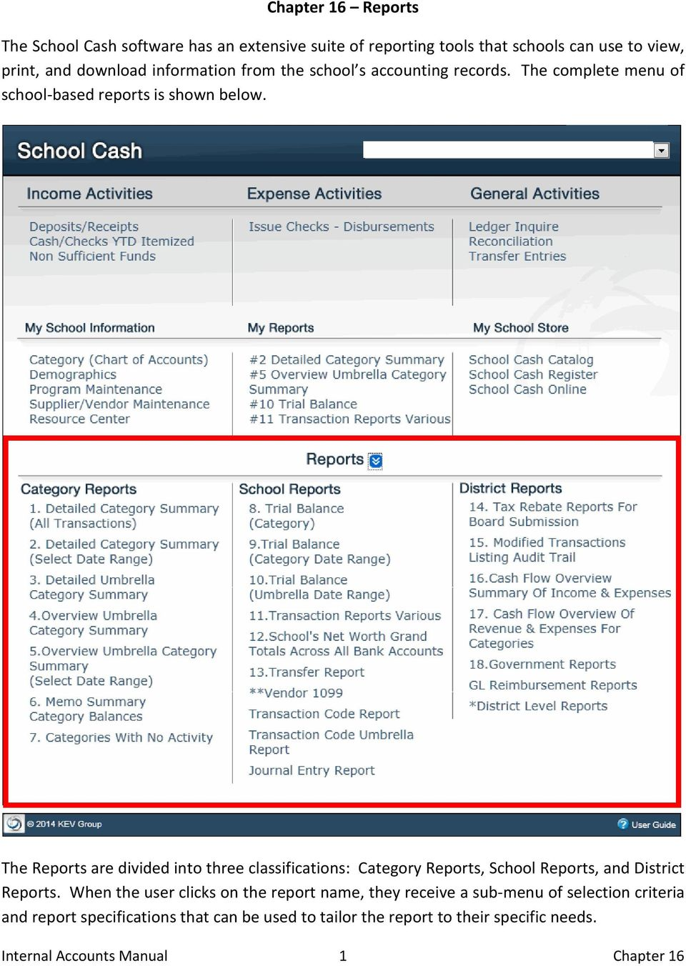 The Reports are divided into three classifications: Category Reports, School Reports, and District Reports.