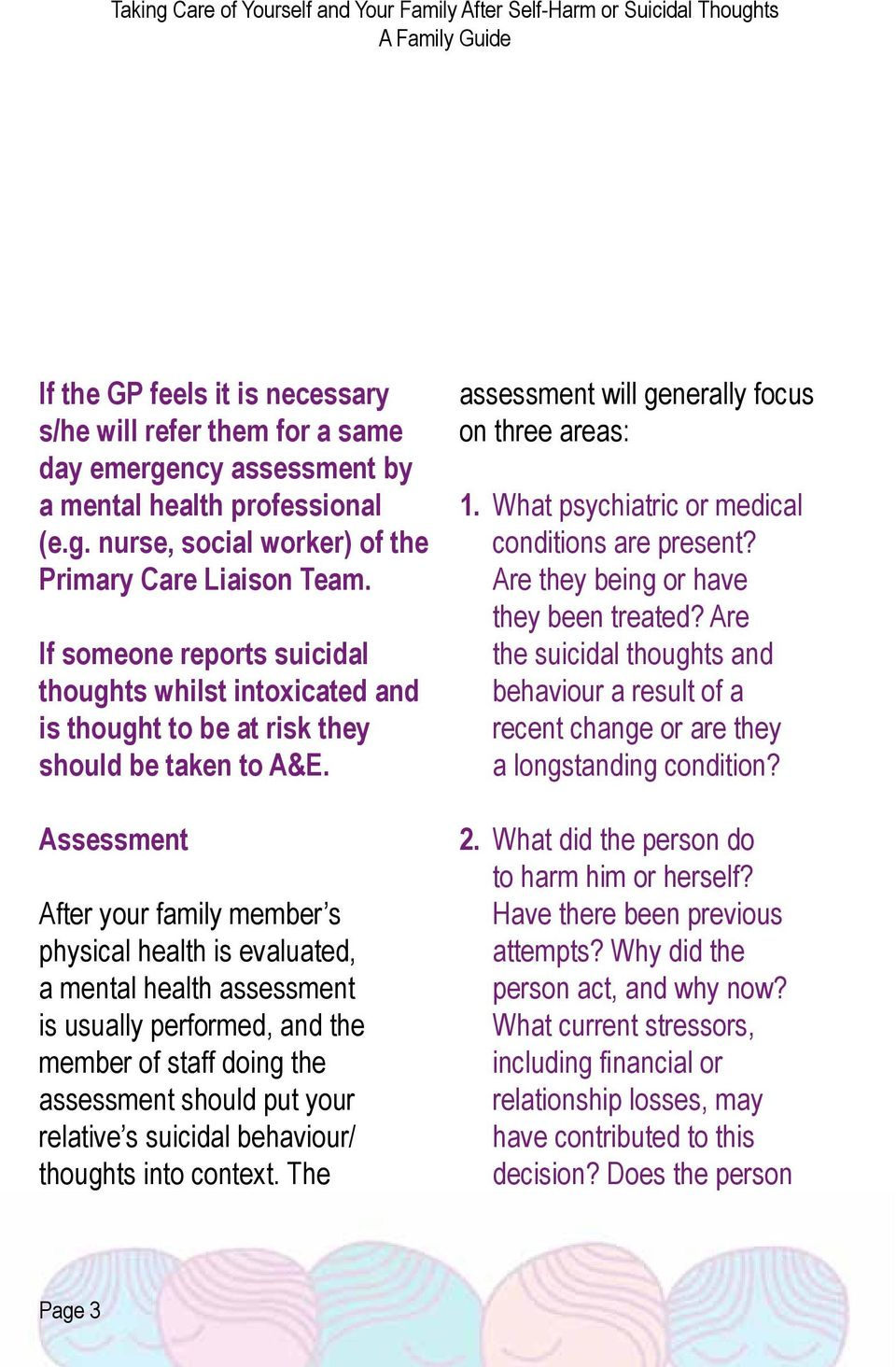 Assessment After your family member s physical health is evaluated, a mental health assessment is usually performed, and the member of staff doing the assessment should put your relative s suicidal