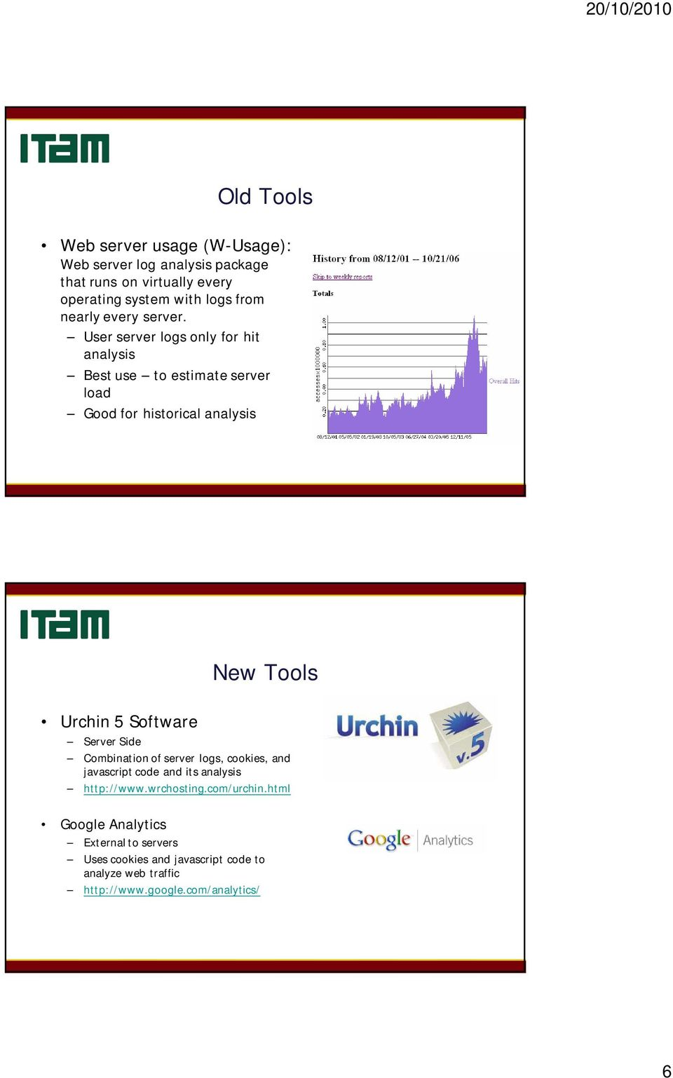 User server logs only for hit analysis Best use to estimate server load Good for historical analysis New Tools Urchin 5 Software