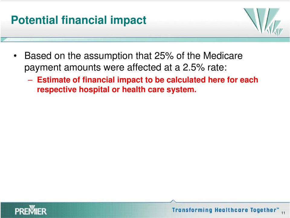 5% rate: Estimate of financial impact to be calculated