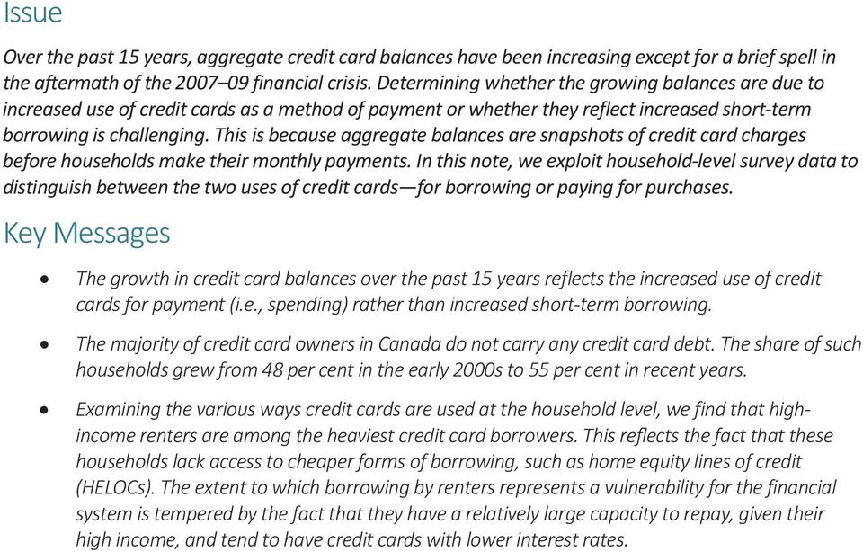 This is because aggregate balances are snapshots of credit card charges before households make their monthly payments.
