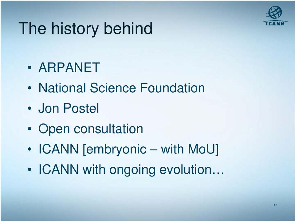 consultation ICANN [embryonic with