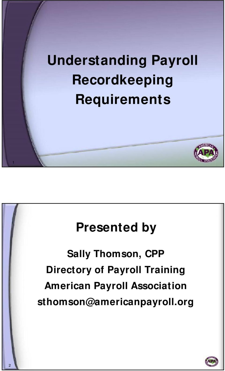 CPP Directory of Payroll Training American