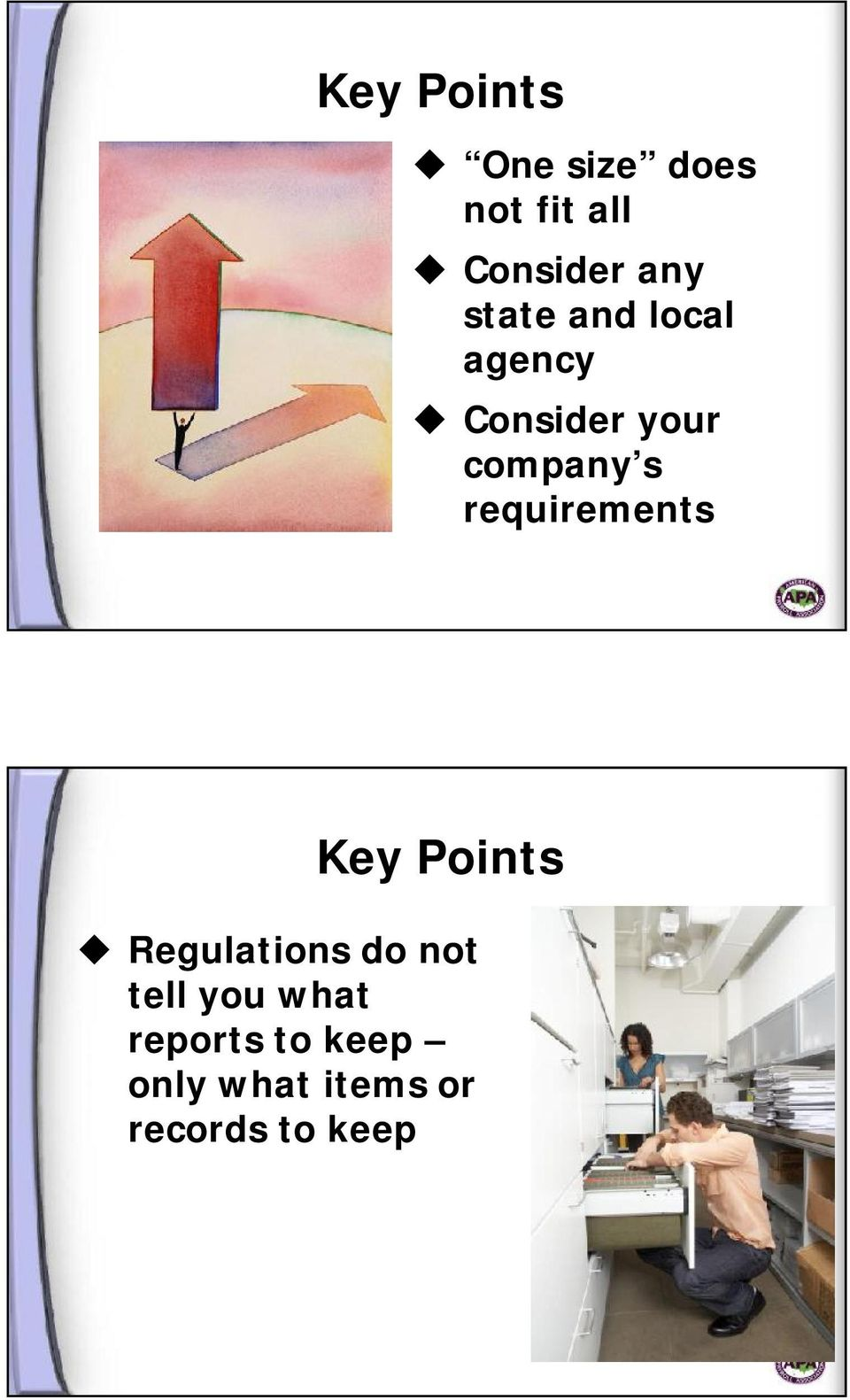 requirements Key Points Regulations do not tell