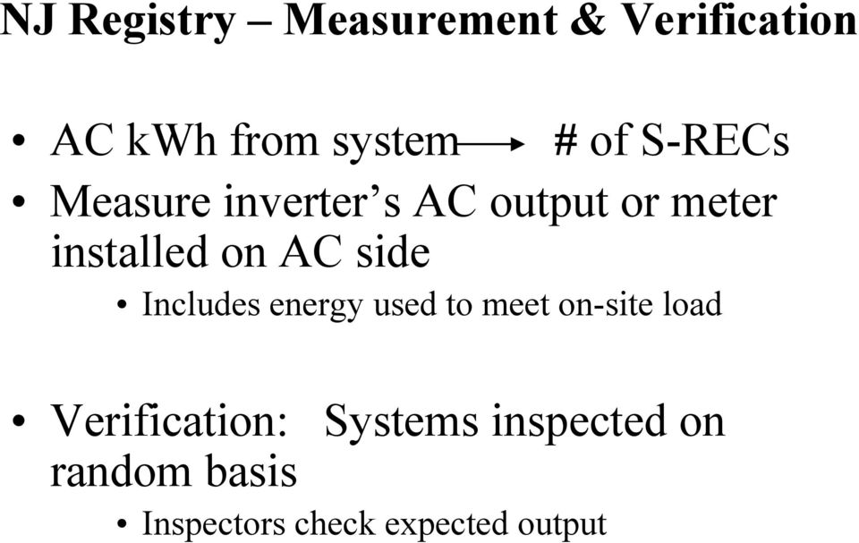 side Includes energy used to meet on-site load Verification: