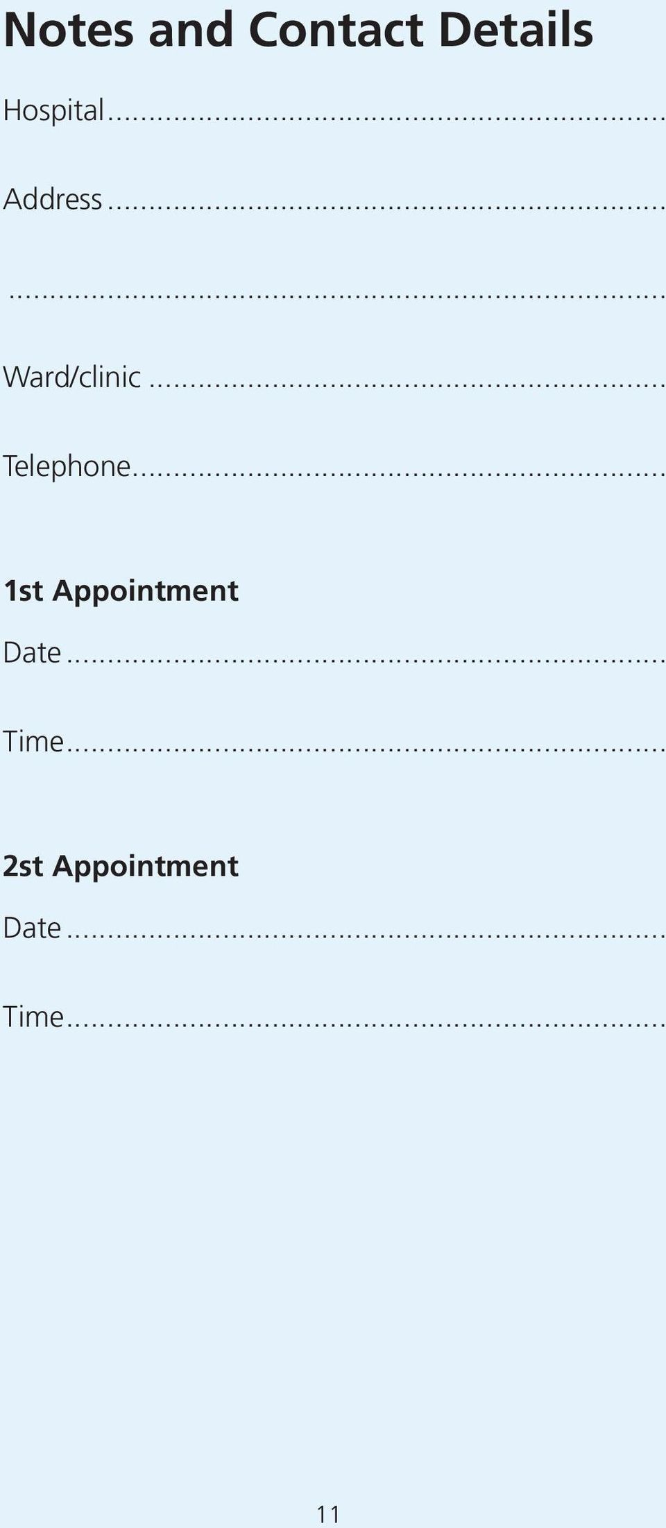 .. Telephone... 1st Appointment Date.