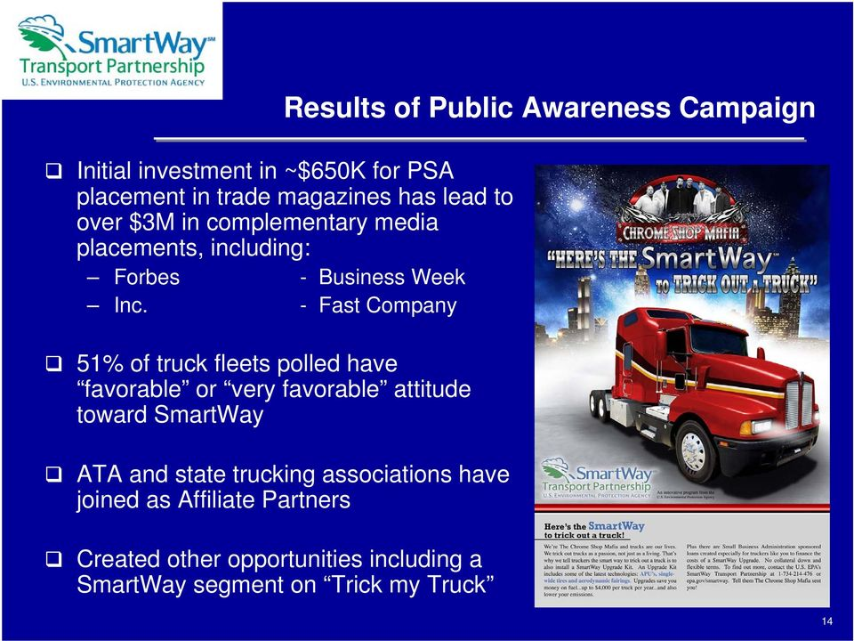 - Fast Company 51% of truck fleets polled have favorable or very favorable attitude toward SmartWay ATA and