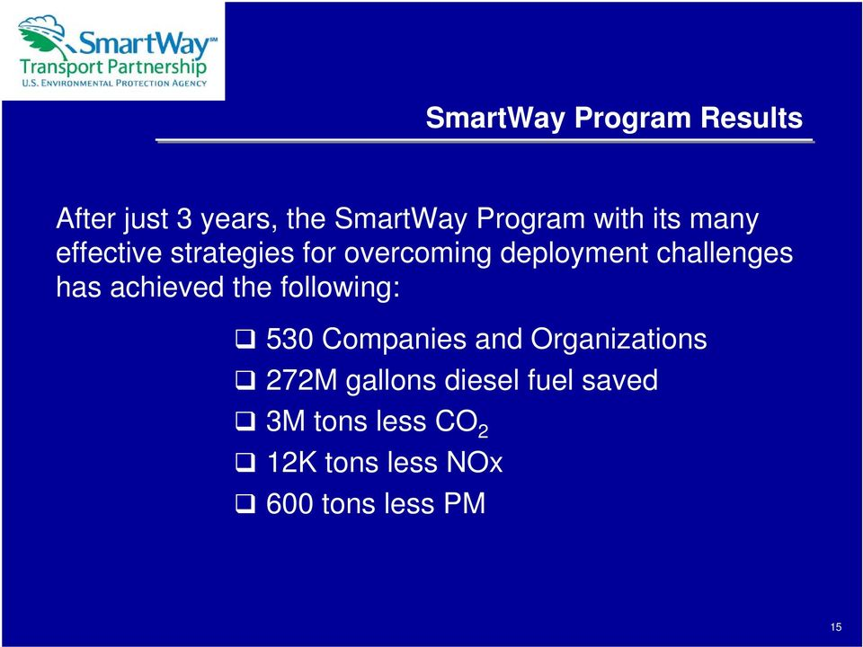 achieved the following: 530 Companies and Organizations 272M gallons