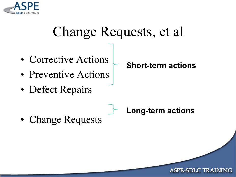 Actions Defect Repairs Change