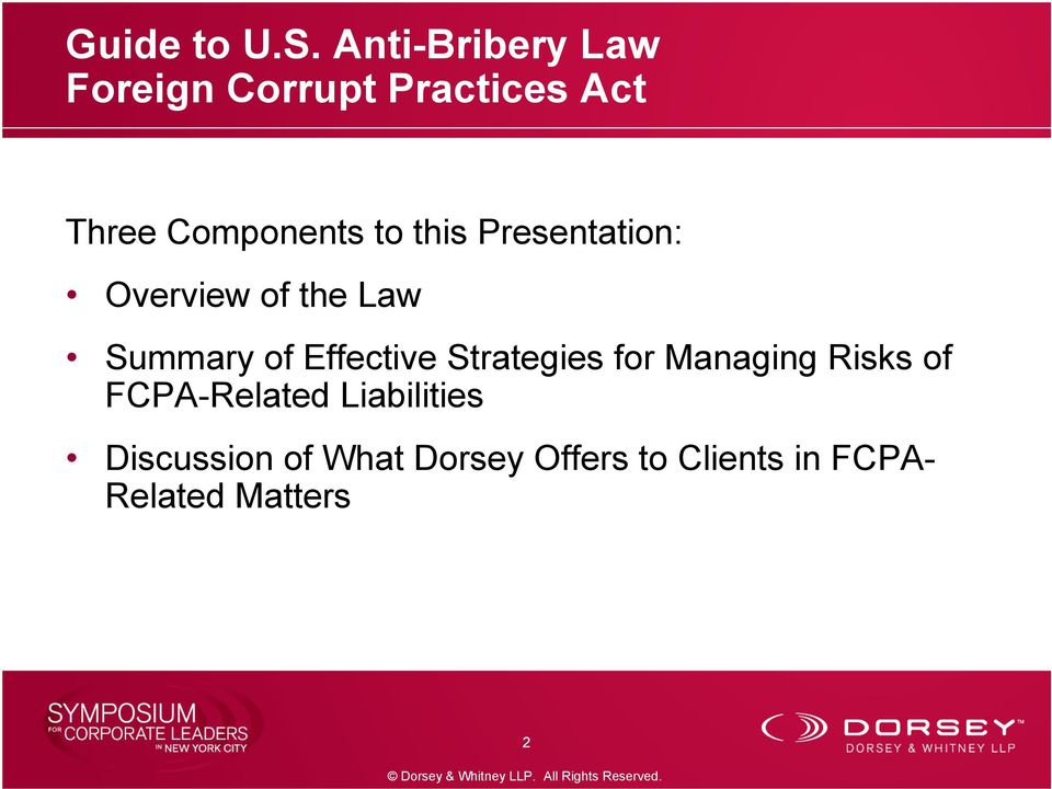 this Presentation: Overview of the Law Summary of Effective