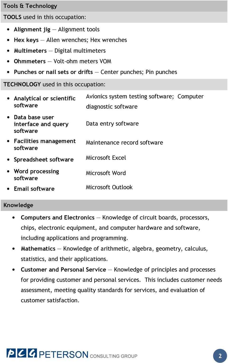 software Word processing software Email software Avionics system testing software; Computer diagnostic software Data entry software Maintenance record software Microsoft Excel Microsoft Word
