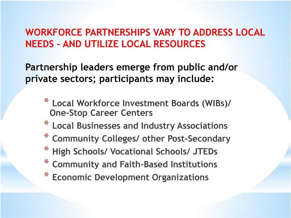 One-Stop Career Centers * Local Businesses and Industry Associations * Community Colleges/ other Post-Secondary