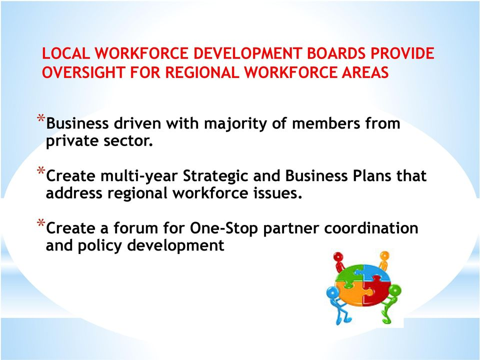 *Create multi-year Strategic and Business Plans that address regional