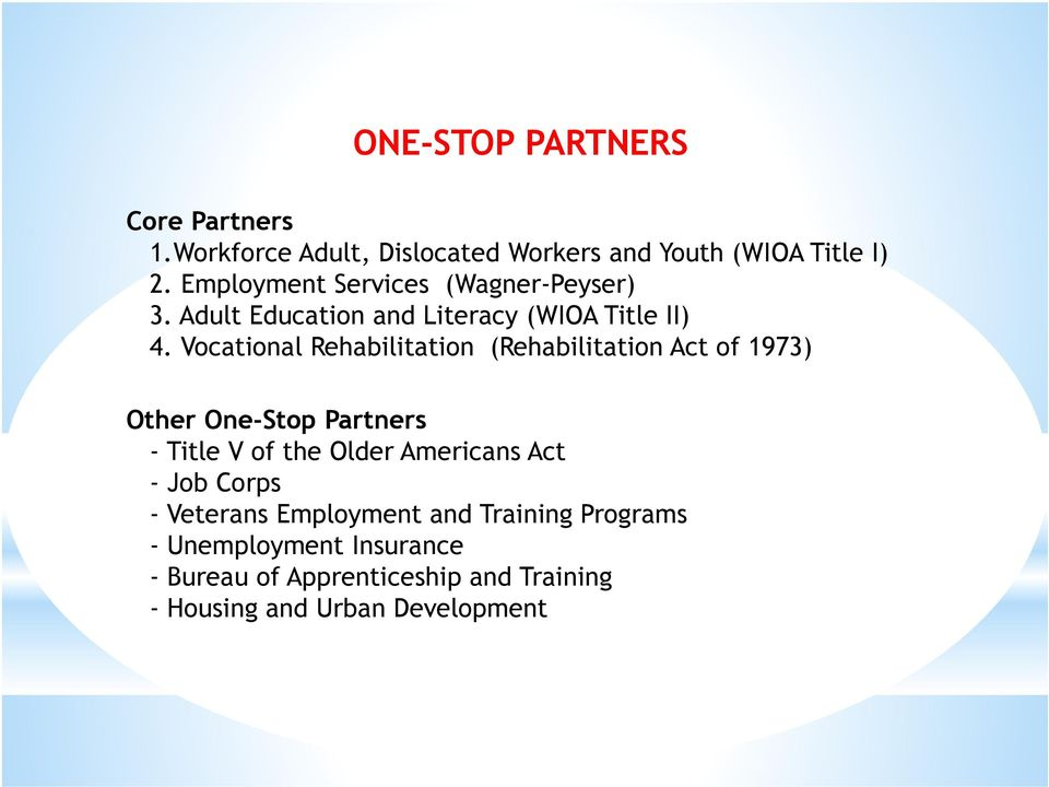 Vocational Rehabilitation (Rehabilitation Act of 1973) Other One-Stop Partners - Title V of the Older Americans