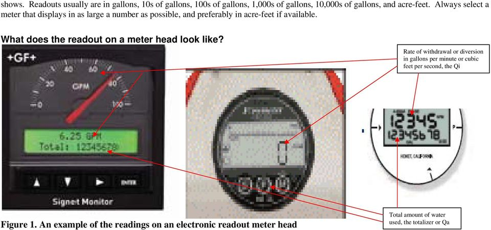 Always select a meter that displays in as large a number as possible, and preferably in acre-feet if available.