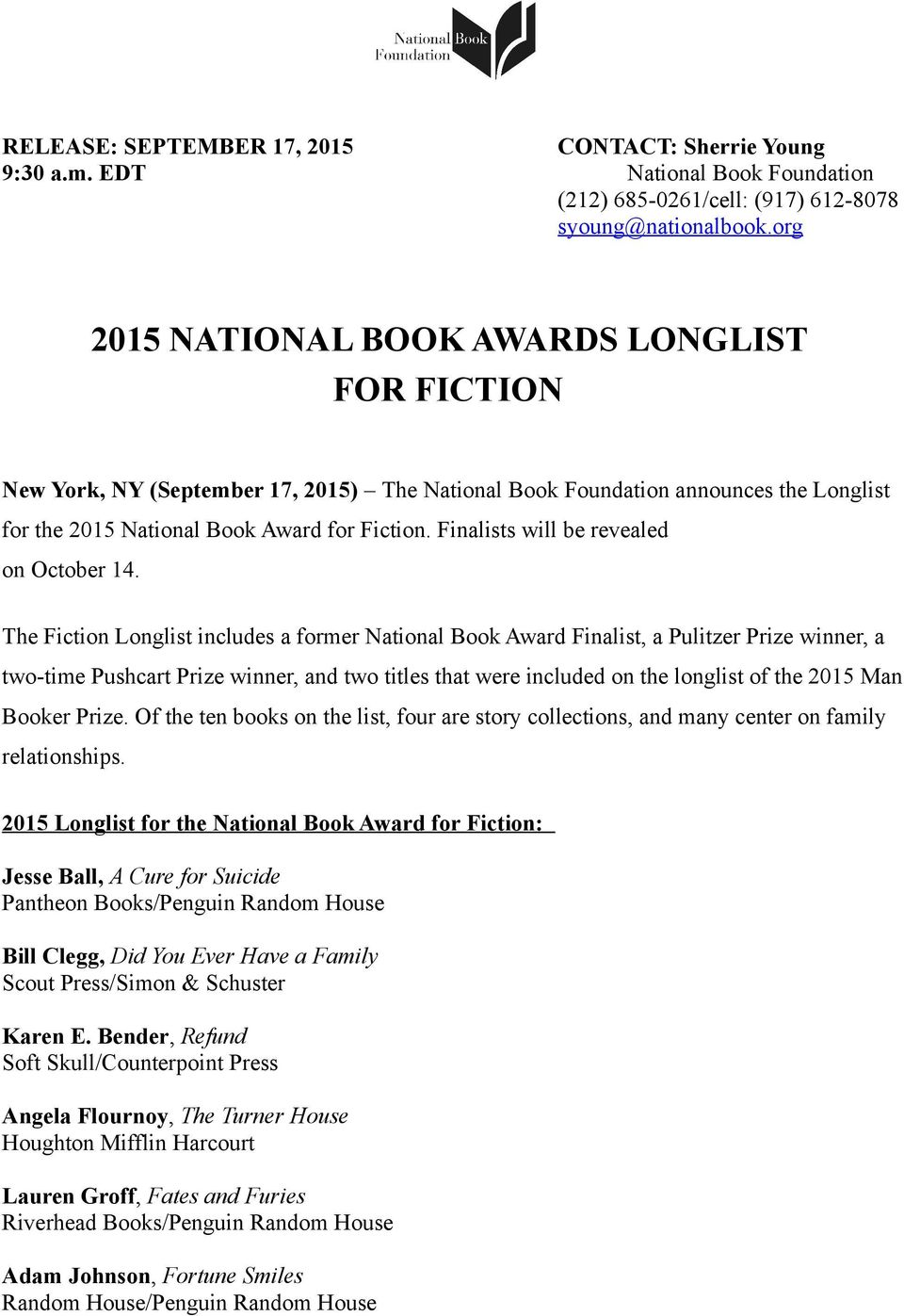 2015 National Book Awards Longlist For Fiction Pdf Free