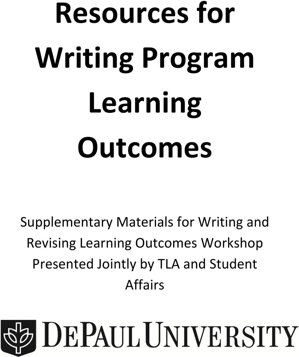 Writing and Revising Learning Outcomes