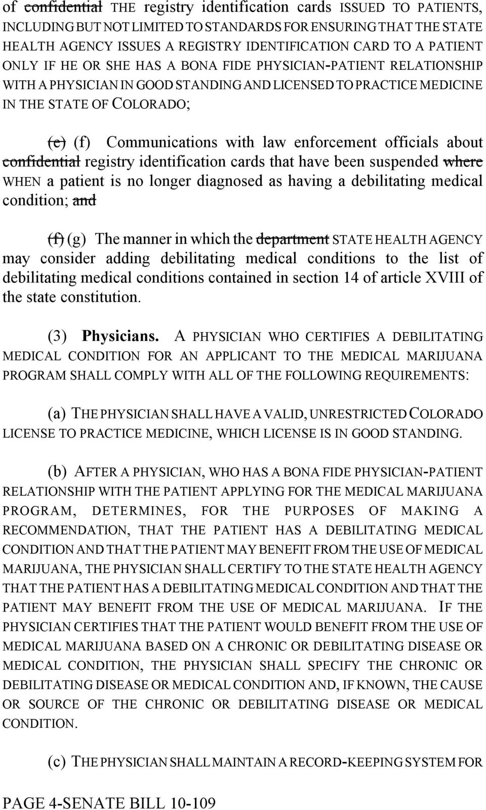 enforcement officials about confidential registry identification cards that have been suspended where WHEN a patient is no longer diagnosed as having a debilitating medical condition; and (f) (g) The