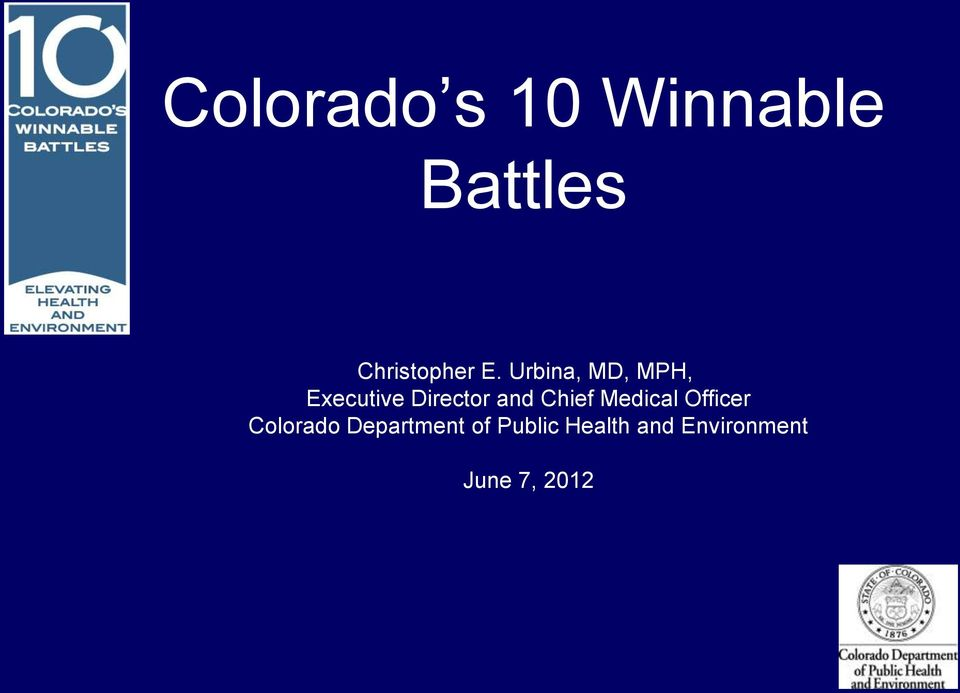 Chief Medical Officer Colorado Department