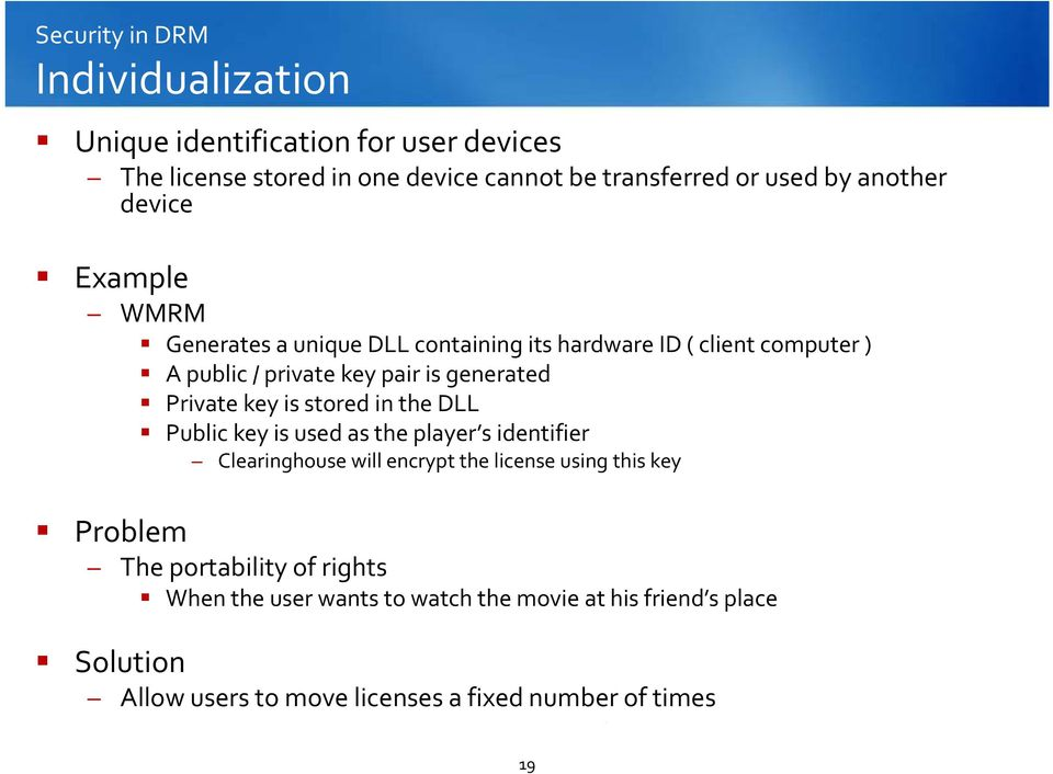Private key is stored in the DLL Public key is used as the player s identifier Clearinghouse will encrypt the license using this key Problem