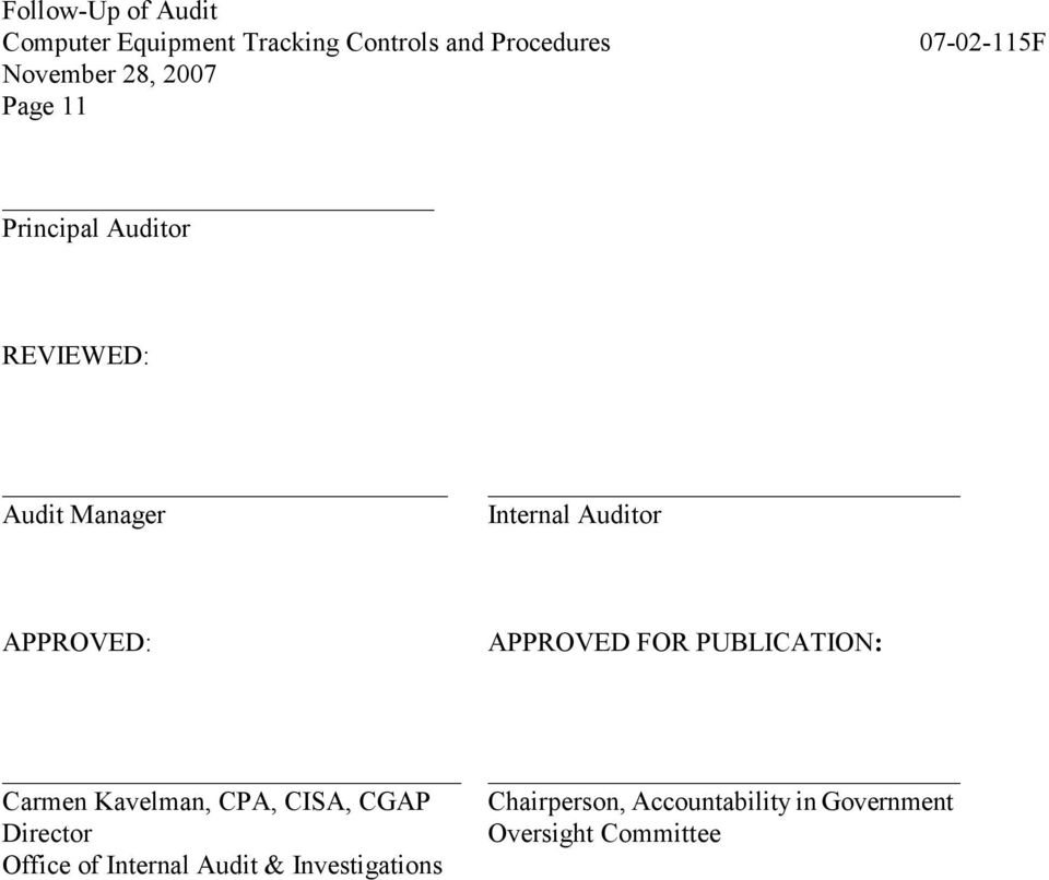 CPA, CISA, CGAP Director Office of Internal Audit &