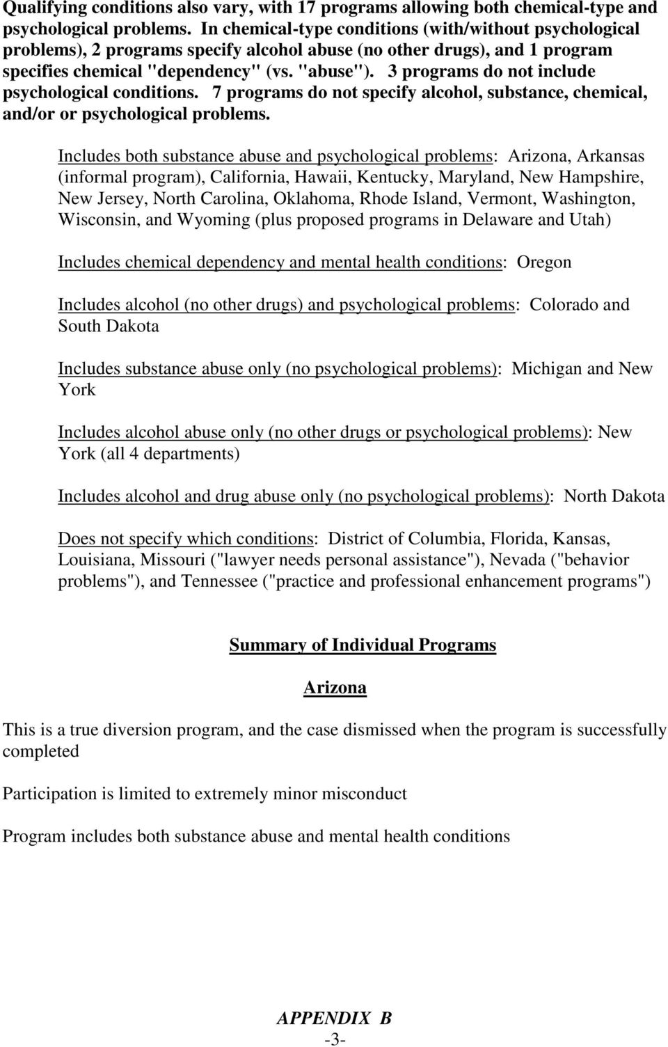 3 programs do not include psychological conditions. 7 programs do not specify alcohol, substance, chemical, and/or or psychological problems.