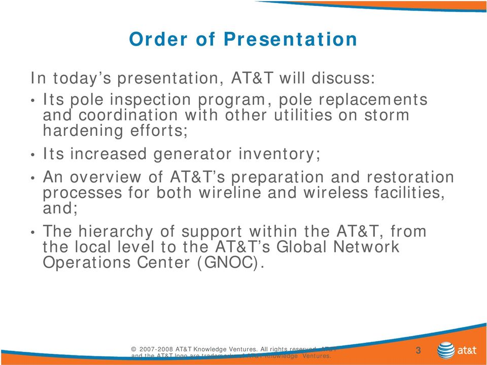 inventory; An overview of AT&T s preparation and restoration processes for both wireline and wireless
