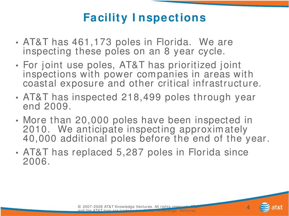 critical infrastructure. AT&T has inspected 218,499 poles through year end 2009.