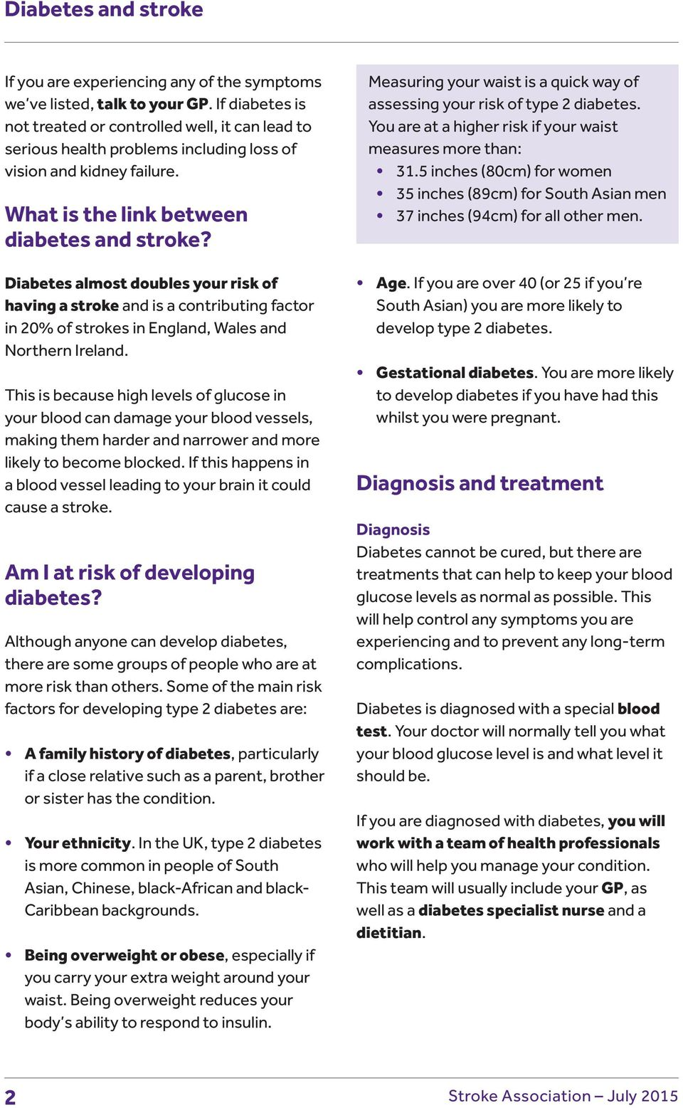 Diabetes almost doubles your risk of having a stroke and is a contributing factor in 20% of strokes in England, Wales and Northern Ireland.