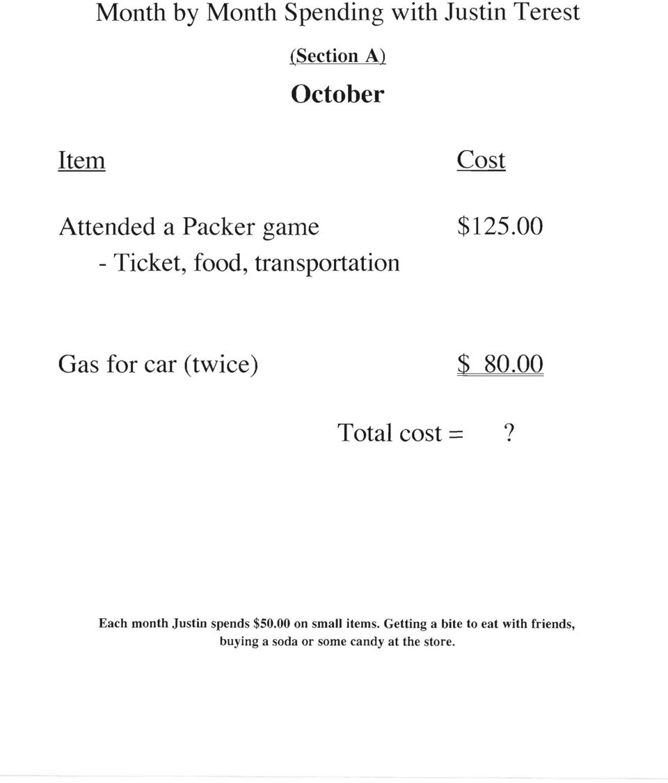 00 - Ticket, food, transportation Gas for car (twice) $ 80.00 Total cost =?