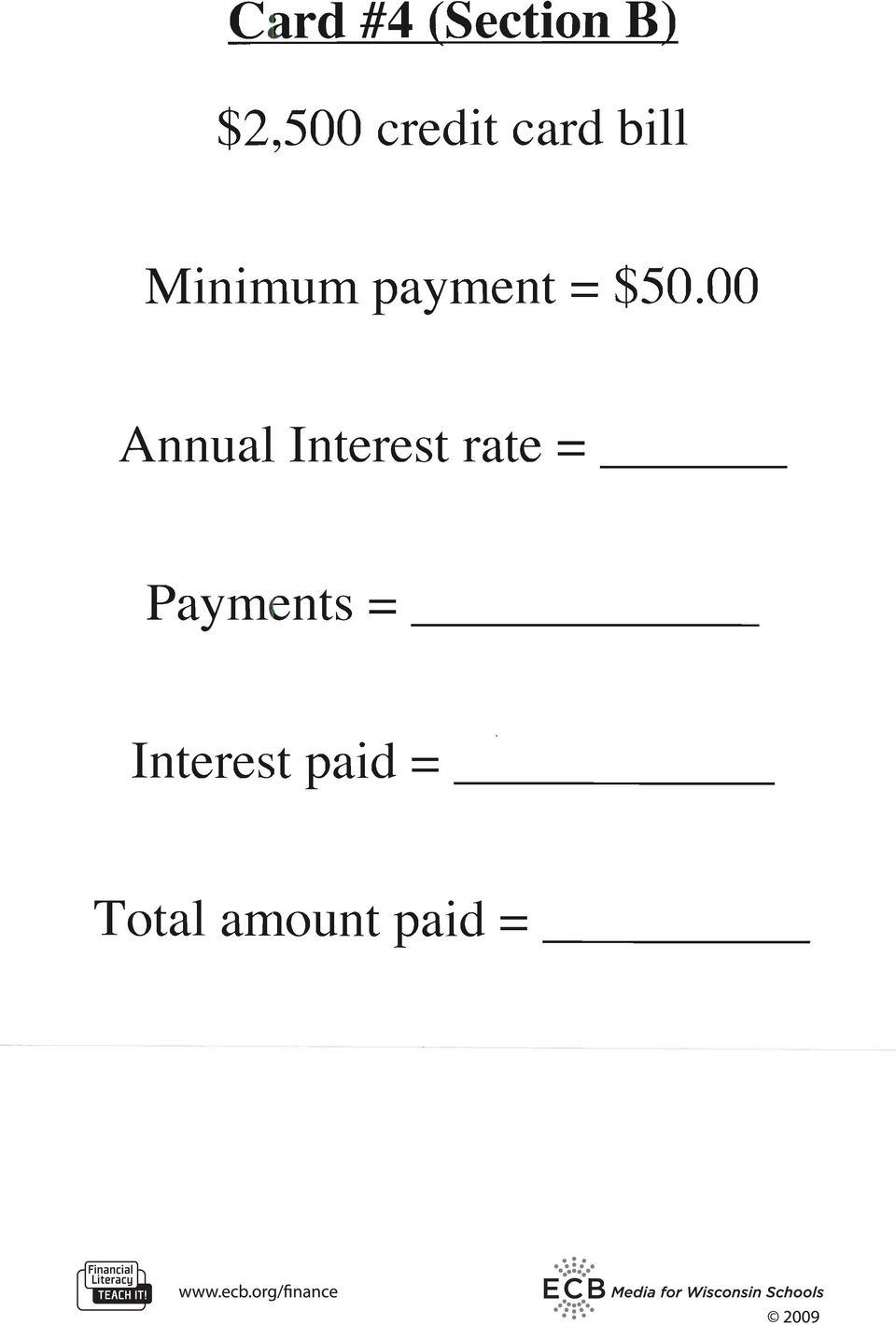 00 Annual Interest rate = --