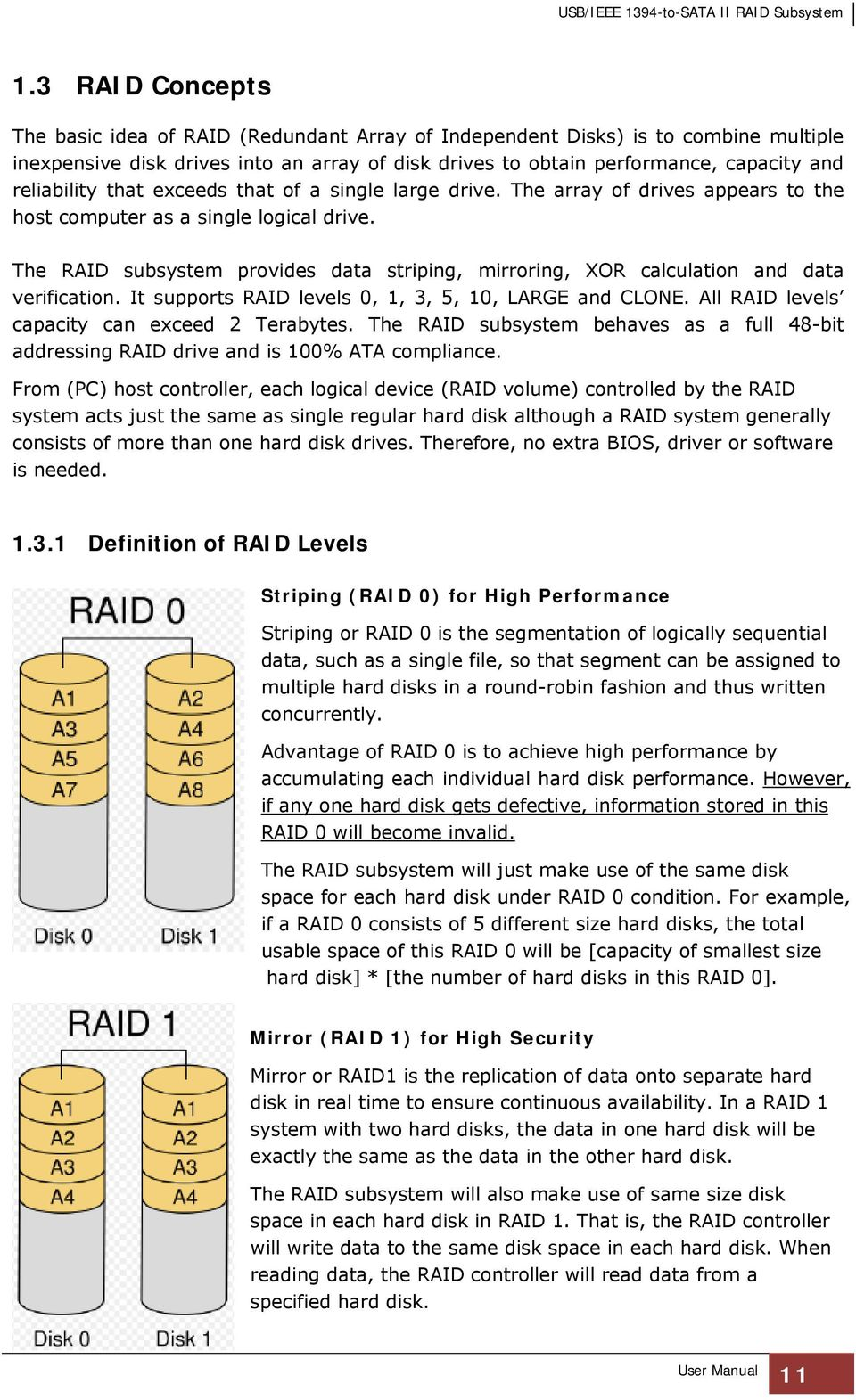 The RAID subsystem provides data striping, mirroring, XOR calculation and data verification. It supports RAID levels 0, 1, 3, 5, 10, LARGE and CLONE. All RAID levels capacity can exceed 2 Terabytes.