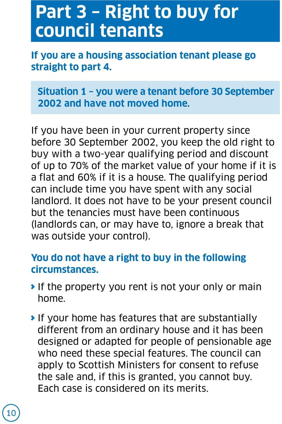 it is a flat and 60% if it is a house. The qualifying period can include time you have spent with any social landlord.