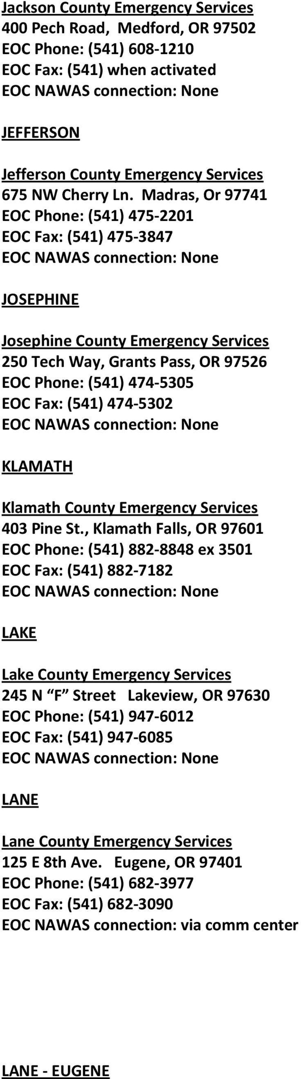 KLAMATH Klamath County Emergency Services 403 Pine St.