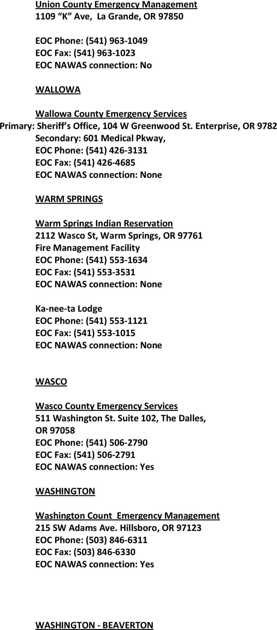 Enterprise, OR 9782 Secondary: 601 Medical Pkway, EOC Phone: (541) 426-3131 EOC Fax: (541) 426-4685 WARM SPRINGS Warm Springs Indian Reservation 2112 Wasco St, Warm Springs, OR 97761 Fire Management