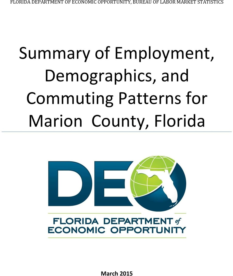 of Employment, Demographics, and Commuting